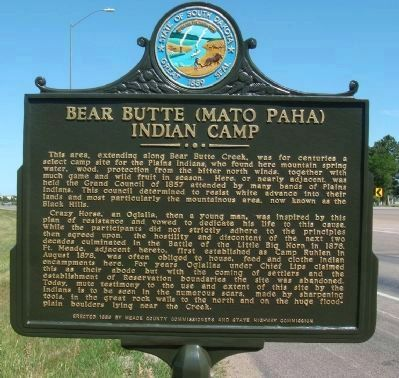 Bear Butte (Mato Paha) Indian Camp Marker image. Click for full size.