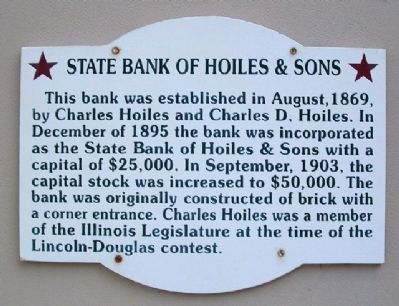 State Bank of Hoiles & Sons Marker image. Click for full size.