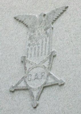 G.A.R. Emblem on Bond County Civil War Monument image. Click for full size.