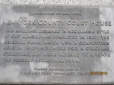 New York County Court House Marker image. Click for full size.