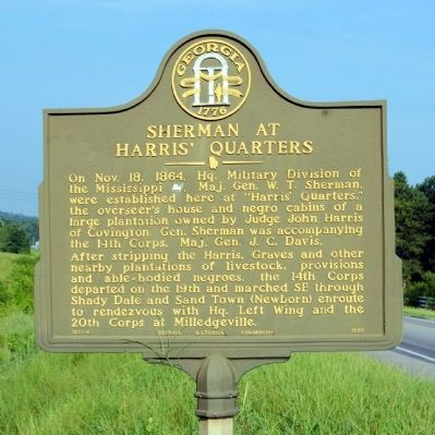 Sherman at Harris' Quarters Marker image. Click for full size.