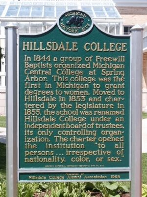 Hillsdale College Marker image. Click for full size.
