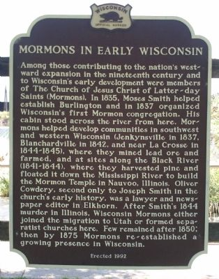 Mormons in Early Wisconsin Marker image. Click for full size.