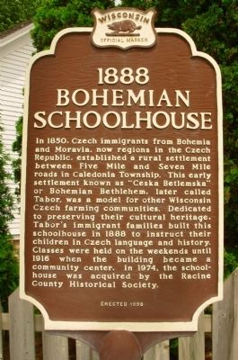 1888 Bohemian School House Marker image. Click for full size.