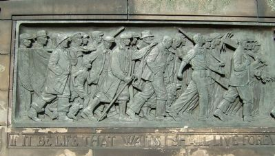 Scottish-American War Memorial, left frieze image. Click for full size.