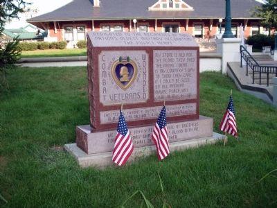 "Looking West - - "" The Purple Heart "" - Memorial Marker image. Click for full size."