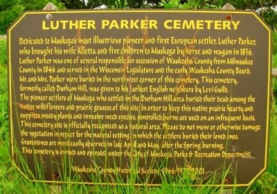 Luther Parker Cemetery Marker image. Click for full size.