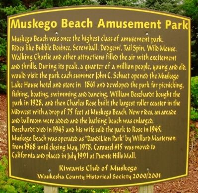 Muskego Beach Amusement Park Marker Photo, Click for full size