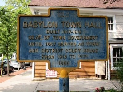 Babylon Town Hall Marker (east-facing side) Photo, Click for full size