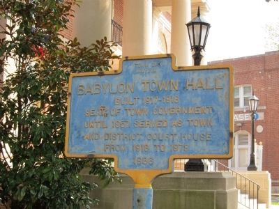 Babylon Town Hall Marker (west-facing side) Photo, Click for full size