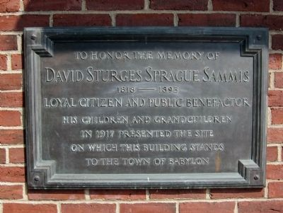 Plaque honoring David Sturges Sprague Sammis Photo, Click for full size
