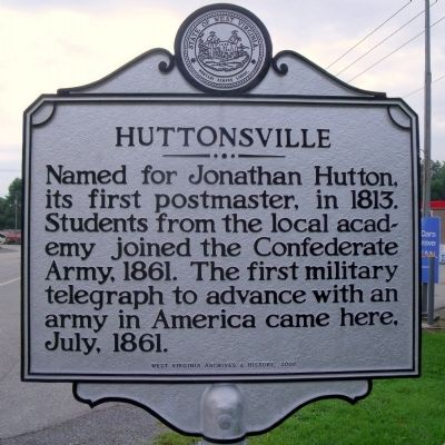 Huttonsville Marker Photo, Click for full size