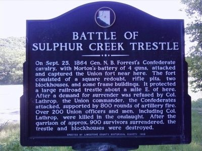 Battle of Sulphur Creek Trestle Marker image. Click for full size.