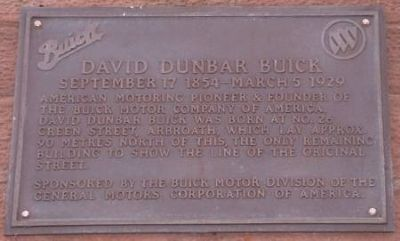 David Dunbar Buick Birthplace Marker image. Click for full size.