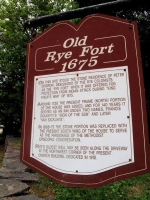 Old Rye Fort 1675 Marker image. Click for full size.