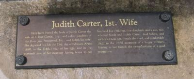 Transcribed Inscription of the Tomb of<br>Judith Carter, 1st. Wife Photo, Click for full size
