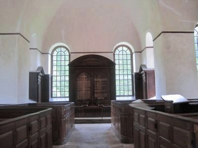 The walnut altarpiece and original high-backed pews in Christ Church Photo, Click for full size