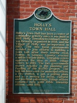 Holly's Town Hall Marker image. Click for full size.