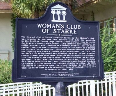 Woman's Club of Starke Marker image. Click for full size.