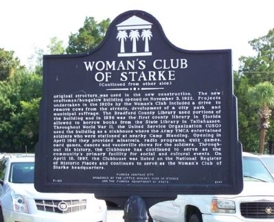 Woman's Club of Starke Marker, reverse side image. Click for full size.