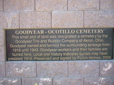Goodyear – Ocotillo Cemetery Marker image. Click for full size.