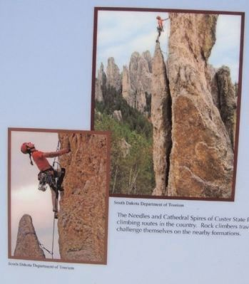 Rock Climber Photos on the Needles Eye Marker image. Click for full size.