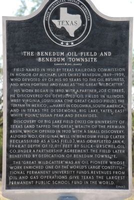 The Benedum Oil Field and Townsite Marker image. Click for full size.