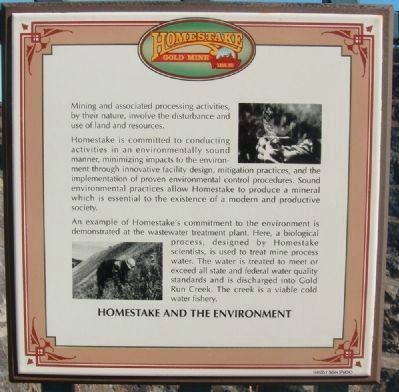 Related Marker: Homestake and the Environment image. Click for full size.