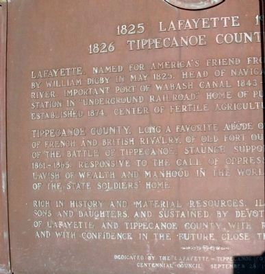 Left Side - - 1825 Lafayette 1925 Marker Photo, Click for full size