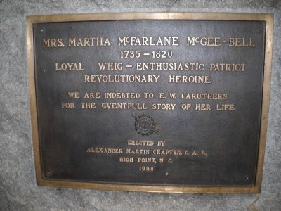 Mrs. Martha McFarlane McGee-Bell Marker Photo, Click for full size