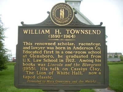 William H. Townsend Marker - Side 1 image. Click for full size.