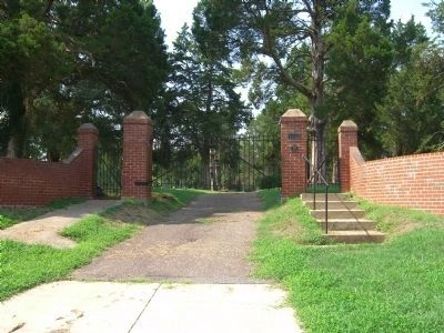 Entrance to Shiloh Baptist Church Cemetery, mentioned on the marker. image. Click for full size.