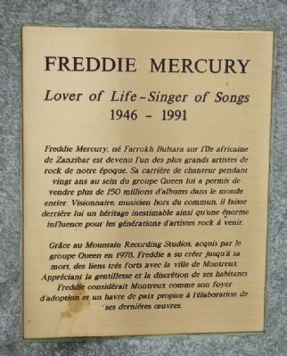 Freddie Mercury Marker (right plaque) image. Click for full size.