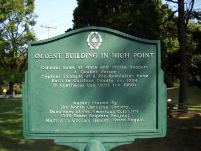 Oldest Building in High Point Marker image. Click for full size.