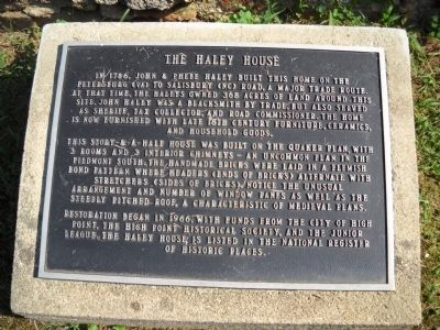 The Haley House Marker image. Click for full size.