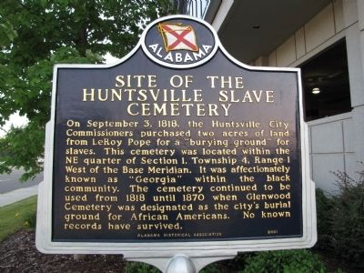 Site of the Huntsville Slave Cemetery Marker image. Click for full size.