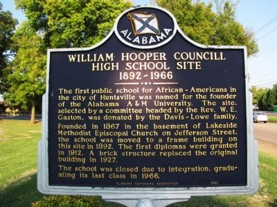 William Hooper Councill High School Site Marker image. Click for full size.