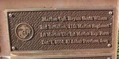 "First Tier - Right Plaque - - "" Marine Cpl. Bryan Scott Wilson "" image. Click for full size."