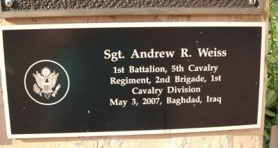 "Third Tier - Right Plaque - - "" Sgt. Andrew R. Weiss "" image. Click for full size."