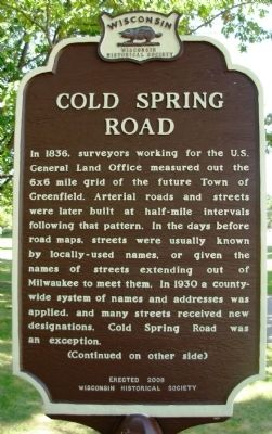Cold Spring Road Marker image. Click for full size.