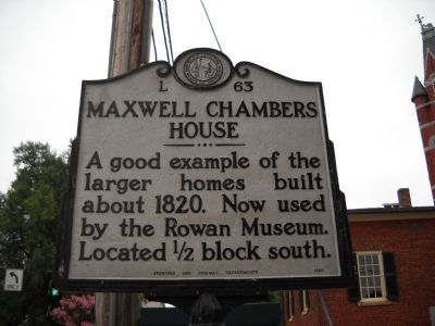 Maxwell Chambers House Marker image. Click for full size.