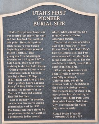 Utah's First Pioneer Burial Site Marker image. Click for full size.