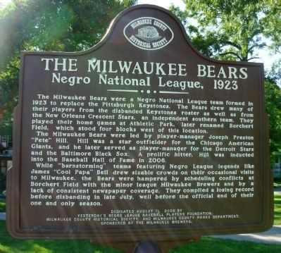 The Milwaukee Bears Negro National League 1923 Marker Photo, Click for full size