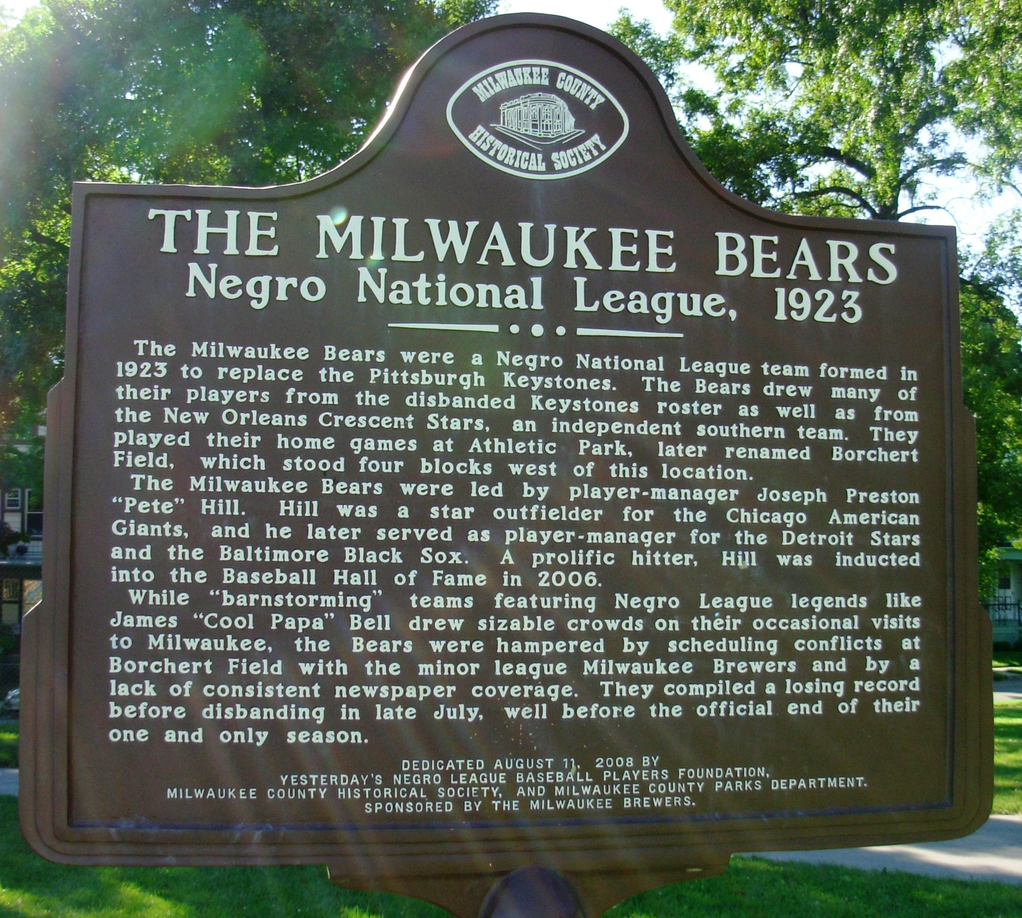 The Milwaukee Bears Negro National League 1923 Marker