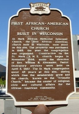 First African-American Church Built in Wisconsin Marker Photo, Click for full size