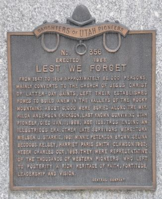 Lest We Forget Marker Photo, Click for full size