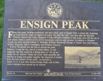 Ensign Peak Marker Photo, Click for full size