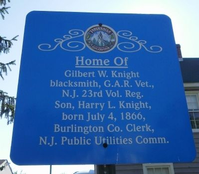 Home of Gilbert W. Knight Marker image. Click for full size.