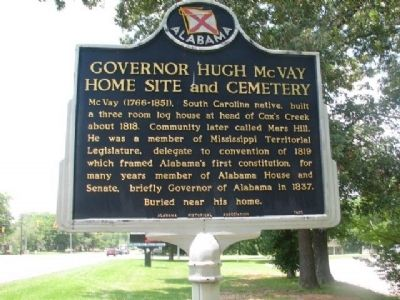 Governor Hugh McVay Home Site and Cemetery Marker image. Click for full size.