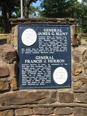Generals James G. Blunt and Francis J. Herron Marker image. Click for full size.